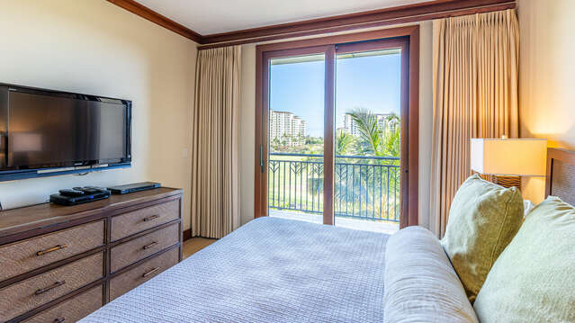 Bedroom with access to Lanai and Television