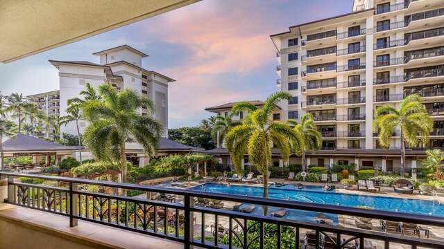 Pool View from the Lanai of Beach Villas OT-224