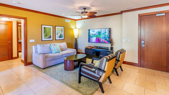 Designer Furnished Living Area in our Vacation Rental on Oahu