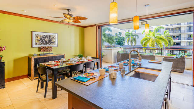 Furnished Kitchen and Dining Area in our Vacation Rental in Oahu