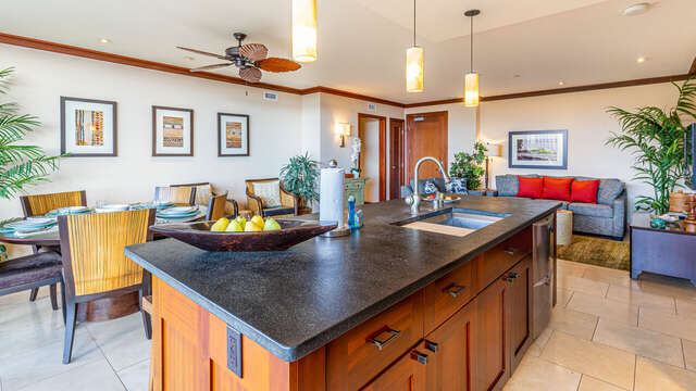 Comfortable Living Area of this Ko Olina beach villa in Hawaii, with Flat Screen TV, seating, and coffee table.