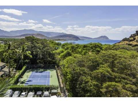 Aerial view of resort's tennis court