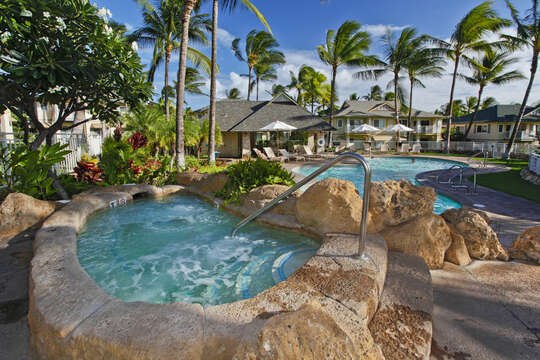 Hot tub built into the rock features of the Kai Lani resort.