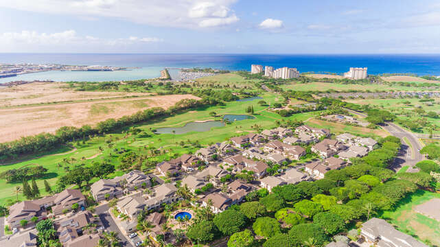 Aerial view of the area, including this Oahu condo rental.