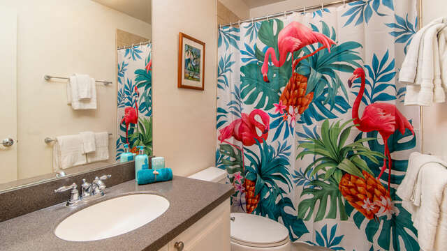 An Image of the Second Full bath in Ko Olina Condo Rental in Oahu.