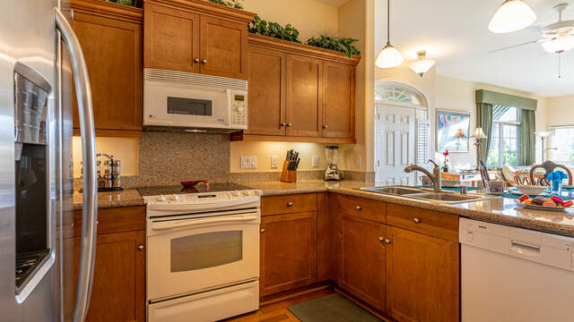 Spacious Kitchen in Oahu Vacation Condo Offers Plenty of Cabinet Space.