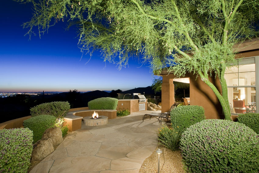 Outdoor fire pit overlooking mountain / Scottsdale views