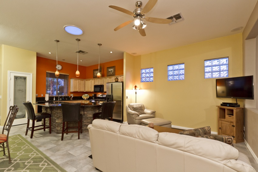 Great View of Family Room and Kitchen