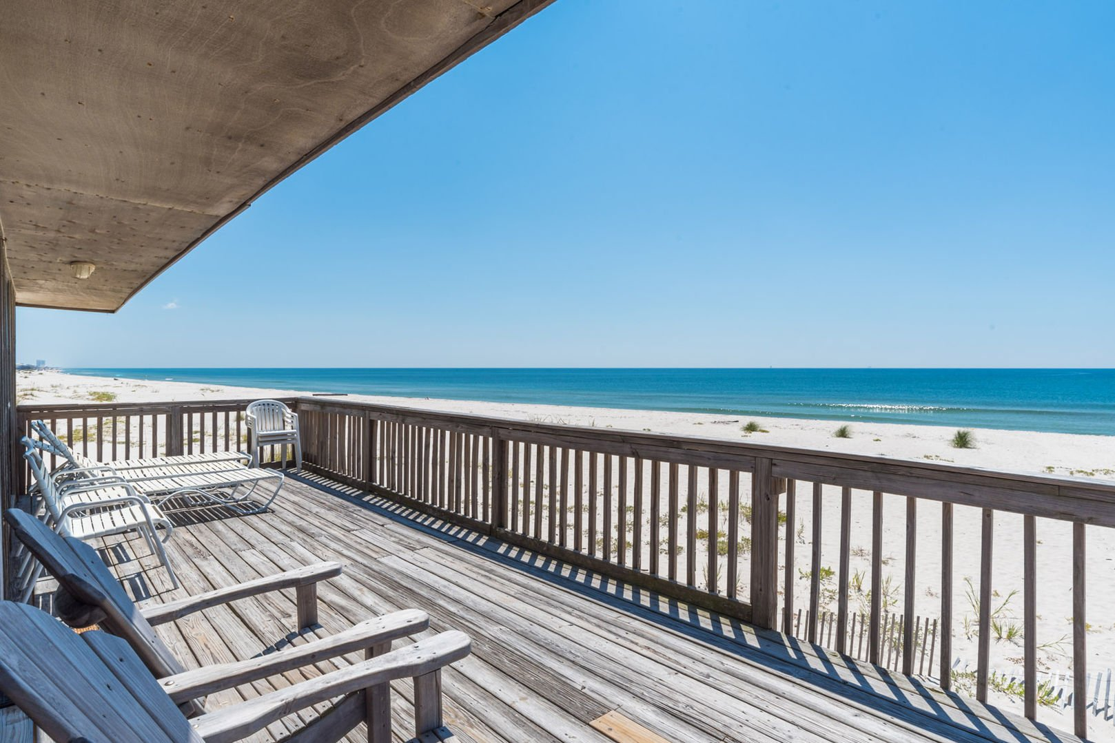 Enjoy Being Very Secluded On this Beach House Rental in Gulf Shores Beach Front Deck