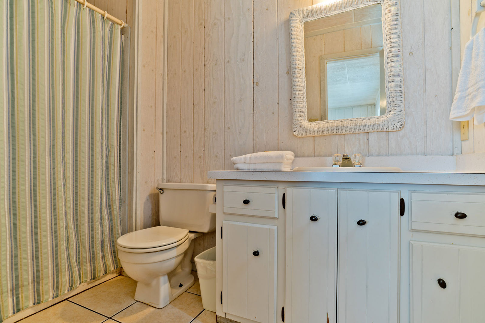 The full bathroom is private to the guest bedroom