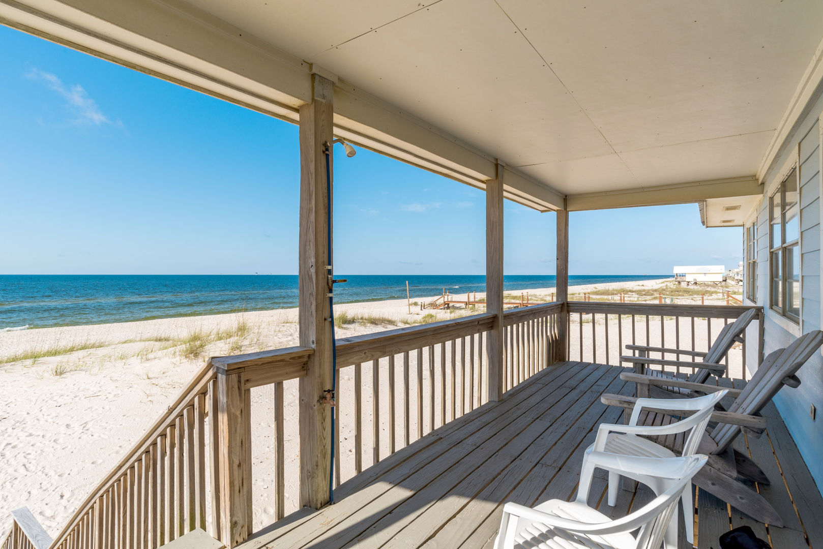 Stunning Beach Front Views from the Covered Deck