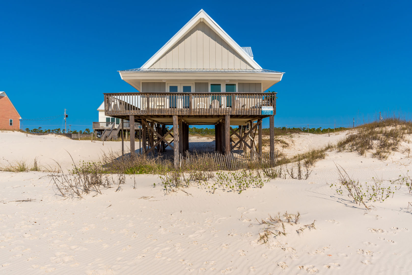 View of this Beach House Rental in Gulf Shores from the Beach
