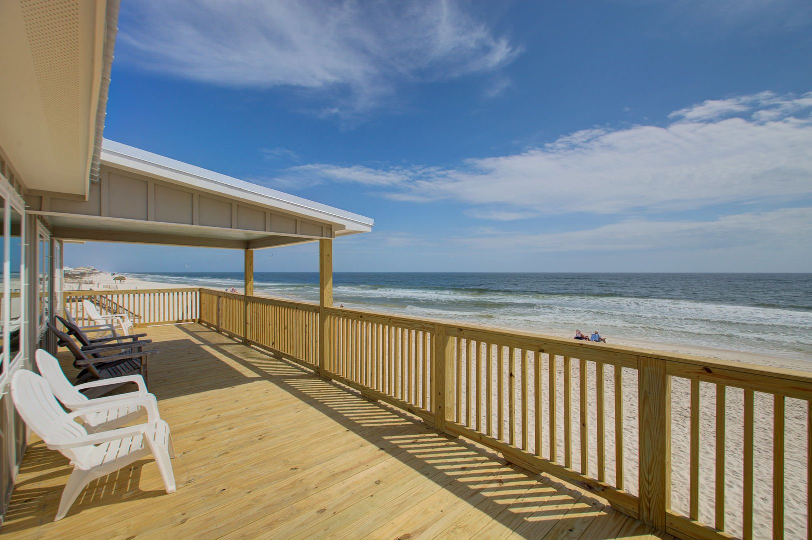 Enjoy the soothing sounds of the waves on the patio of this beachfront Gulf Shores rental.
