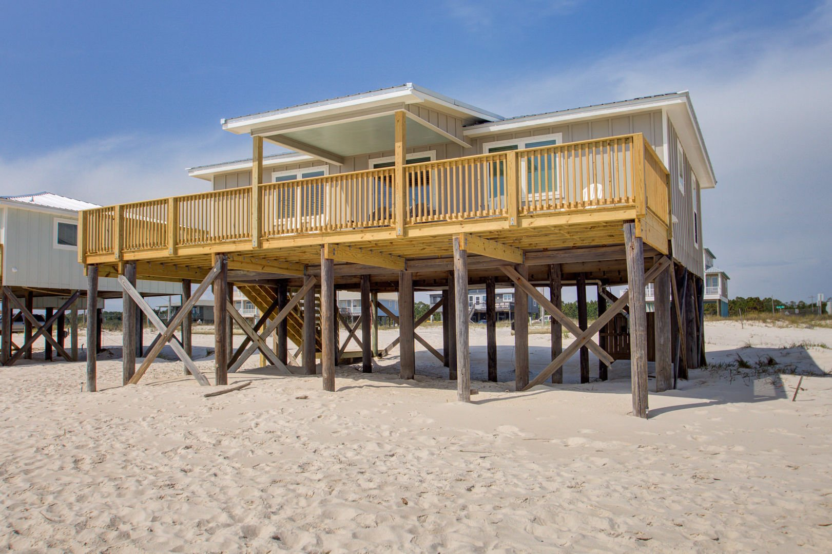 beach side view of this beachfront Gulf Shores rental