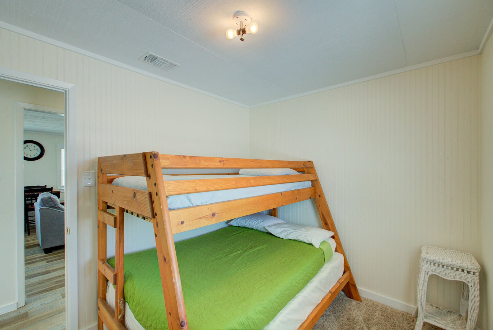 Bedroom #2 sleeps 3 on a bunk bed with a full sized bottom bunk.