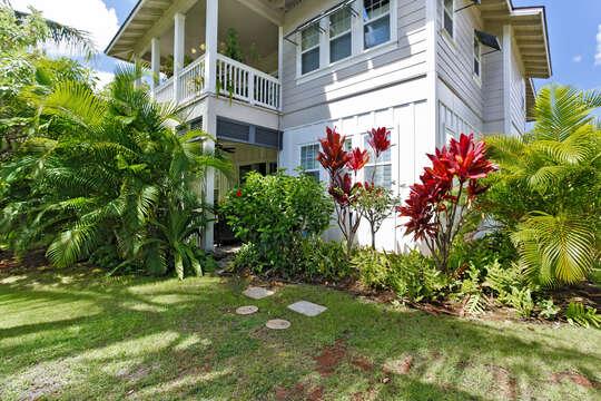 Beautifully Landscaped Backyard of Our Rental In Ko Olina Oahu.