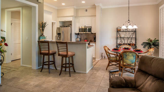 Large Kitchen and Dining Area Features Bar Stools