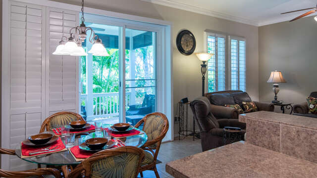 Spacious Dining Area with a View to the Lanai.