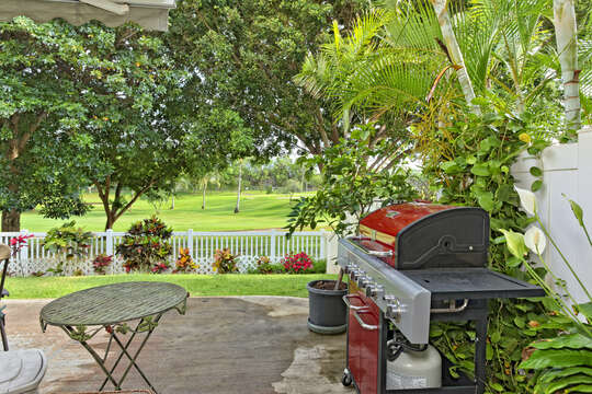 Back Yard on the Golf Course with grill and golf course views.