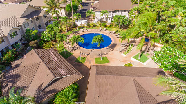 Aerial view of rentals at the  Fairways at Ko Olina, with pool in the center.