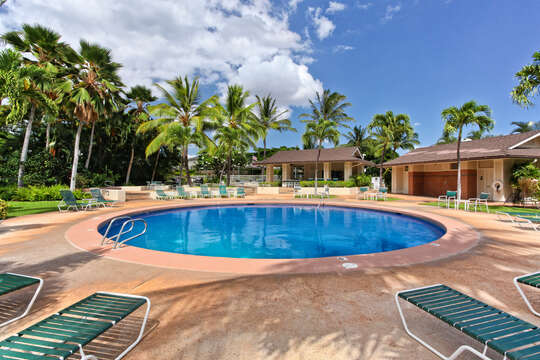 Pool in the center of the Fairways at Ko Olina, located near this Ko Olina condo rental.