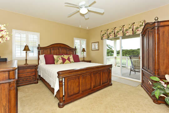 Nicely Furnished Master bedroom with Private Access to the Upper Lanai