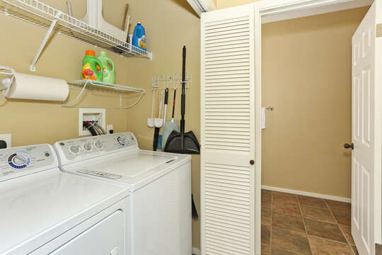 Laundry Area in Ko Olina Condo with Washer and Dryer.