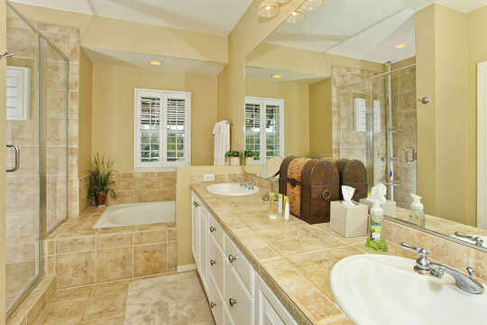 Large Master Bath with Walk-in Shower and Large Soaking Tub.