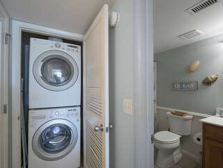 The front load washer/dryer are located in the closet in the 2nd bedroom.