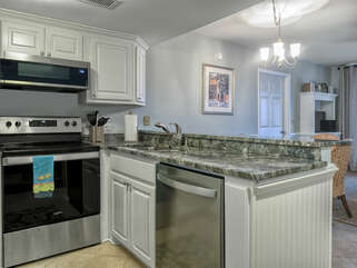 The kitchen is fully stocked and has been upgraded with stainless steel appliances!