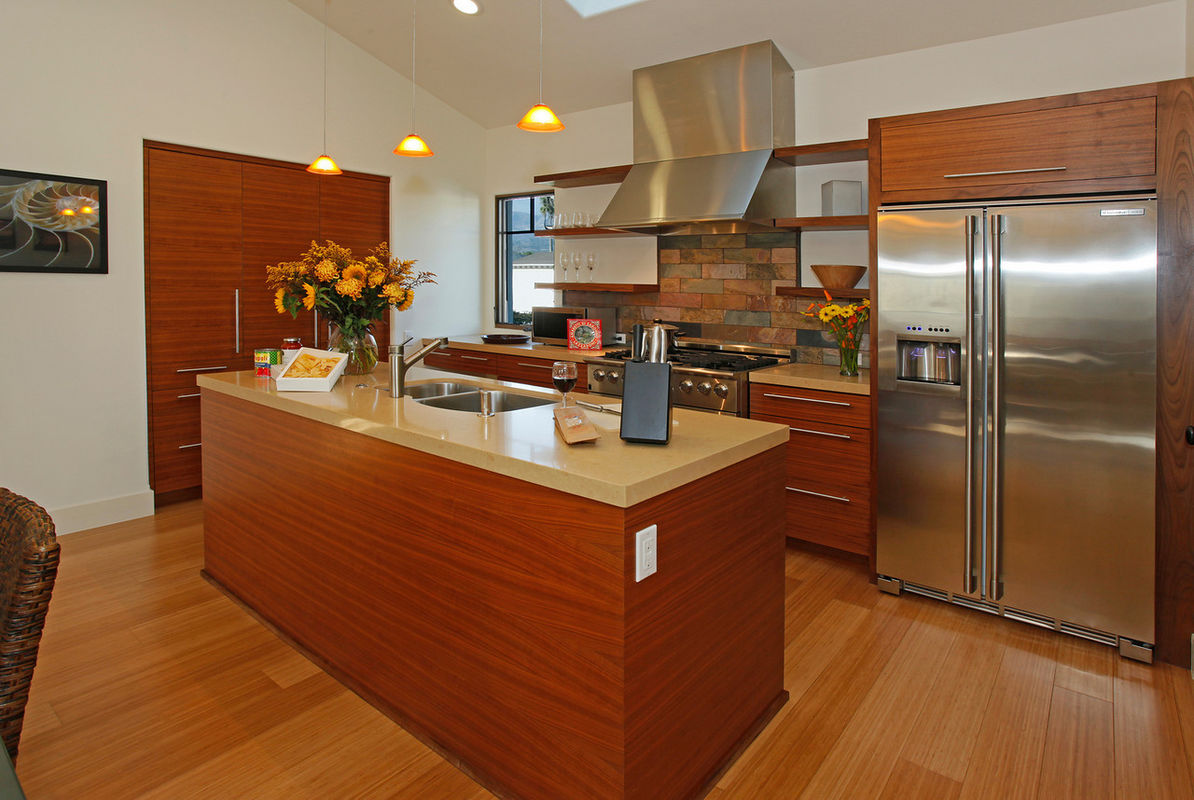 Gourmet kitchen is sleek and efficient
