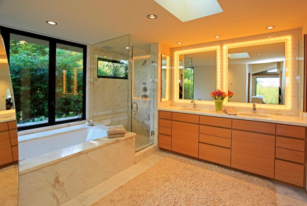 Master bath with air tub and walk-in shower
