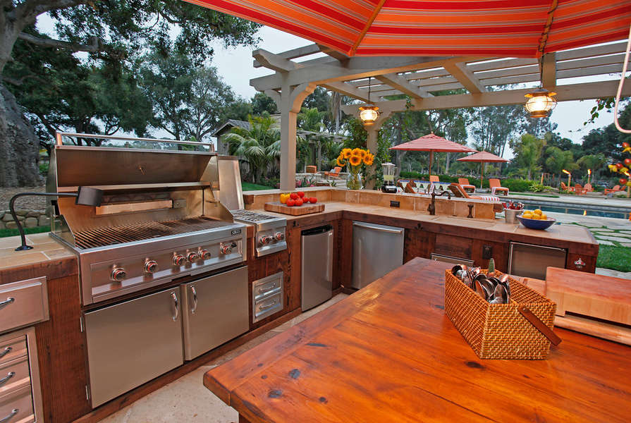 The outdoor kitchen is fully equipped