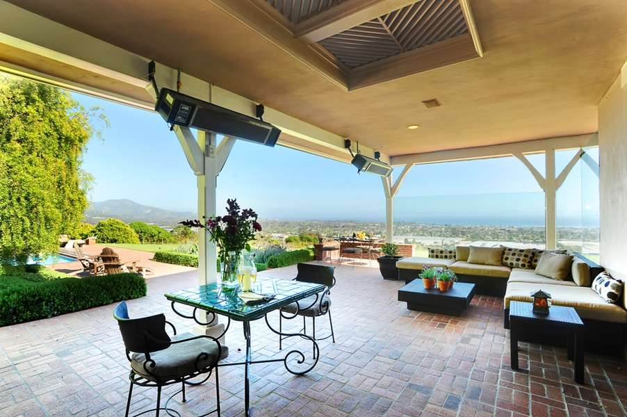 Covered patio with restaurant-style heaters