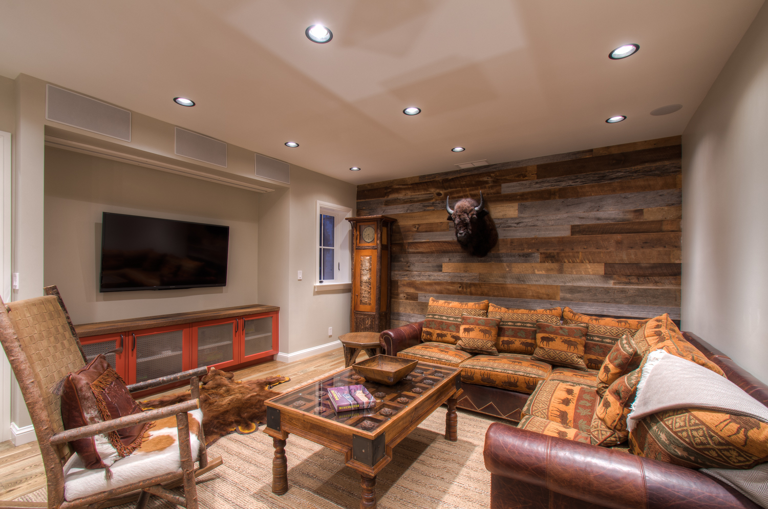 Den with Flat Screen TV and Buffalo Head Wall Piece at Vacation Home in Telluride