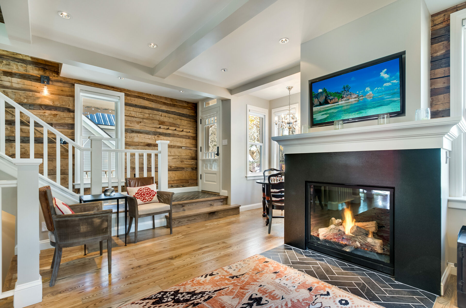 Fireplace and Seating for Reading at Vacation Home in Telluride
