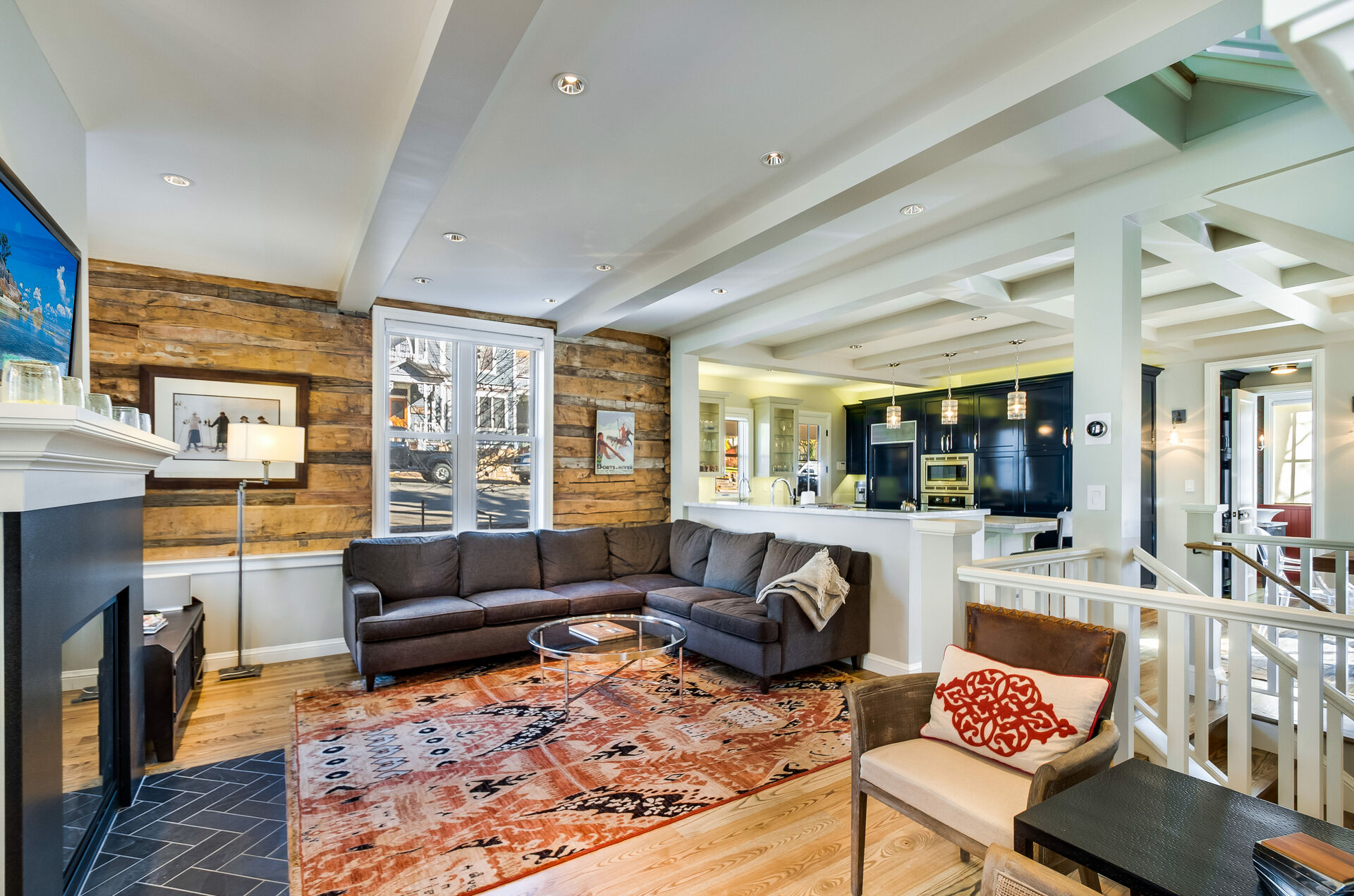 Living Area with Wood Walls and Luxury Furnishings