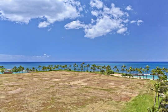 Lanai View of Ocean from this vacation house rental Oahu Hawaii