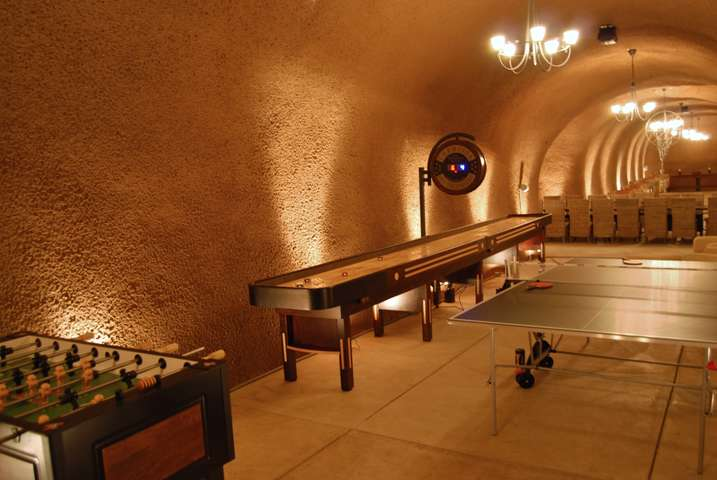 Game room in the wine cave