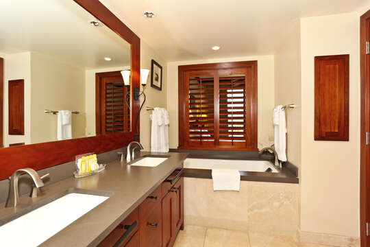 Master bath with large Soaking Tub and a Walk-in Shower