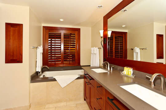 Large Master Bath with a Walk-in Shower and a Large Soaking Tub