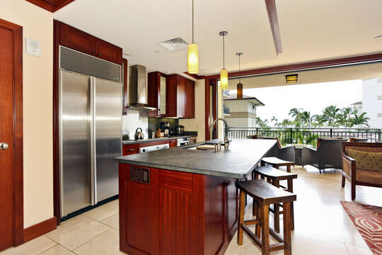 Kitchen with a View Inside Beach Villas OT-305