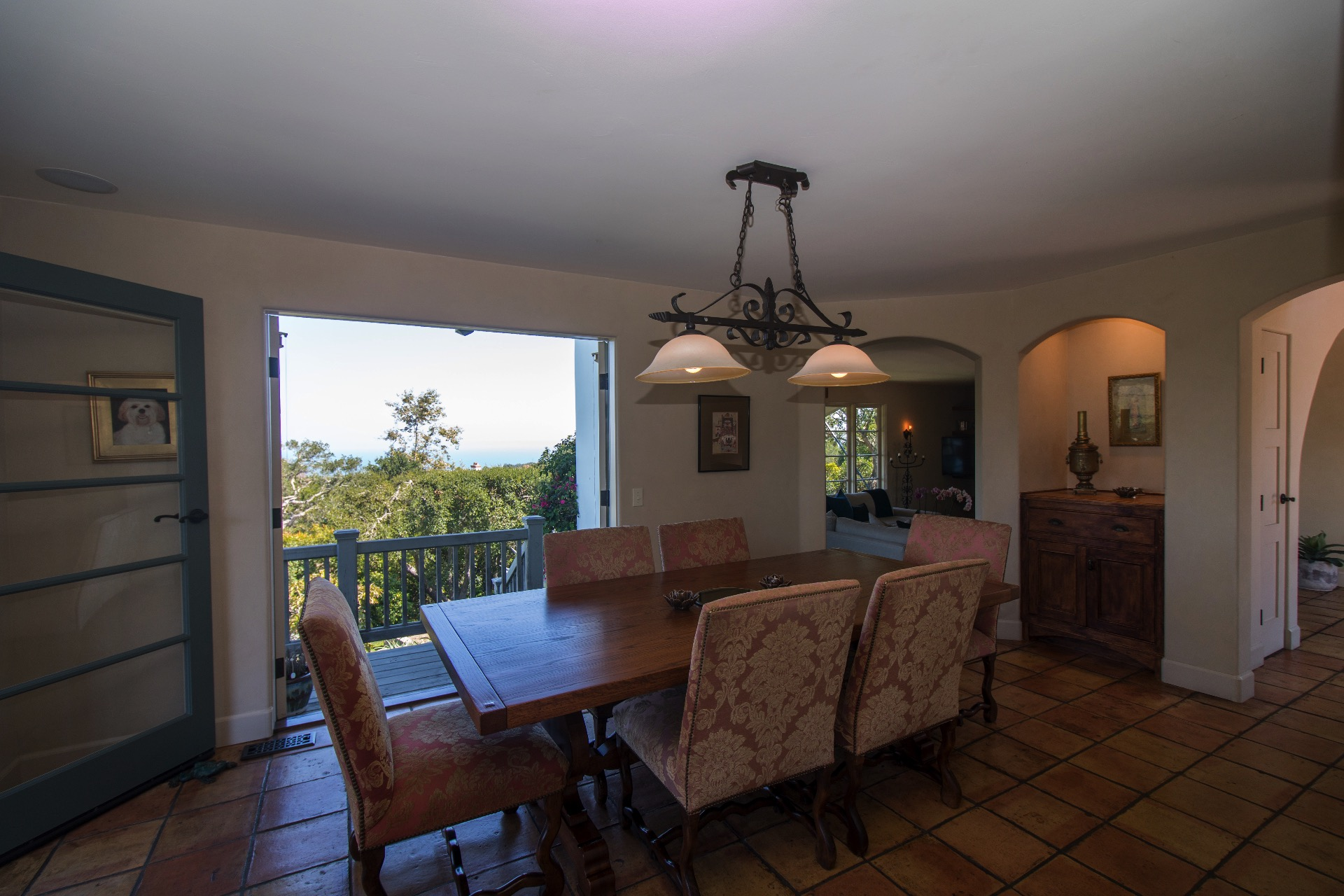 Dining room has views of the mountains and gardens