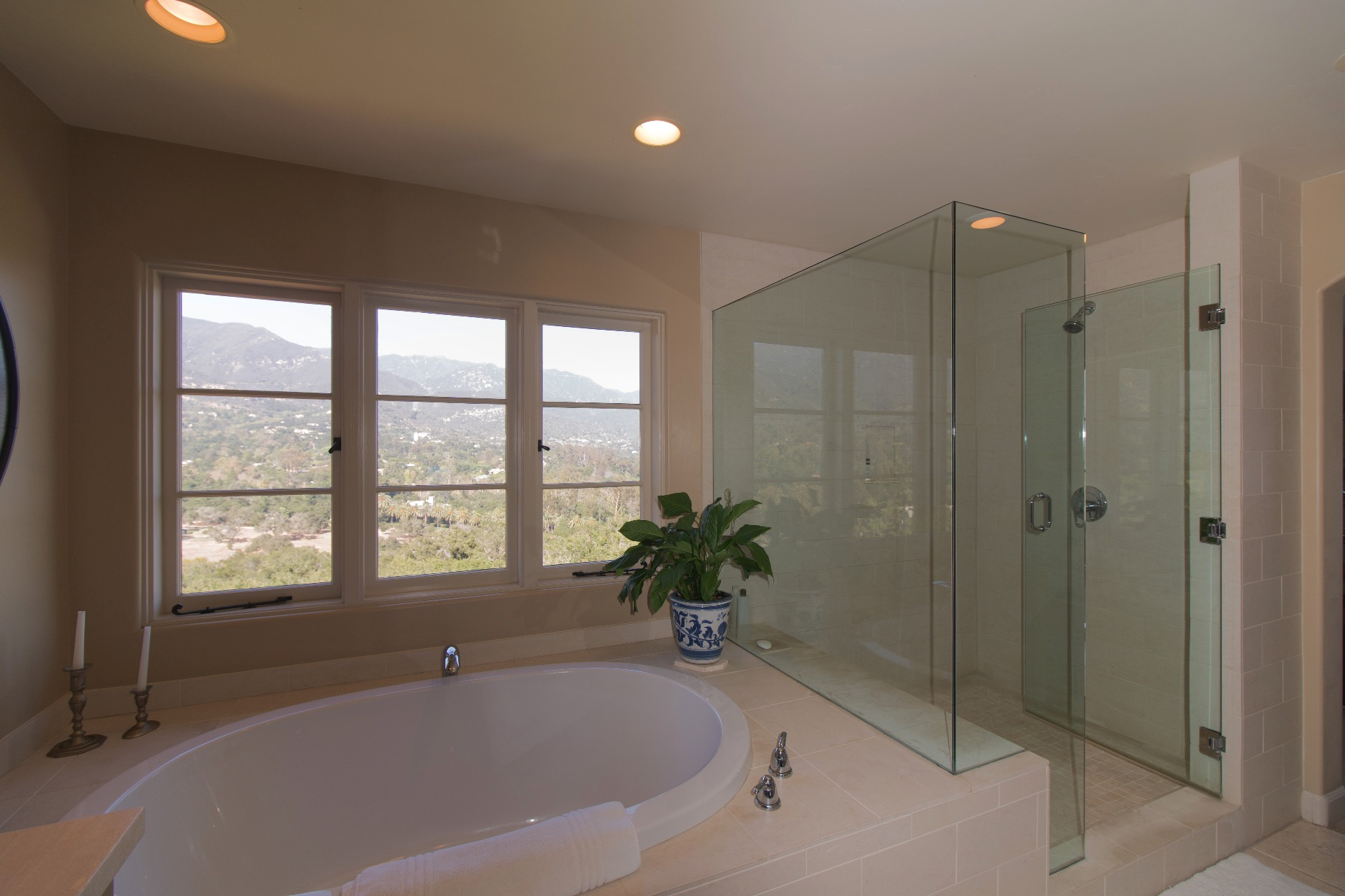 The master bathroom tub and shower