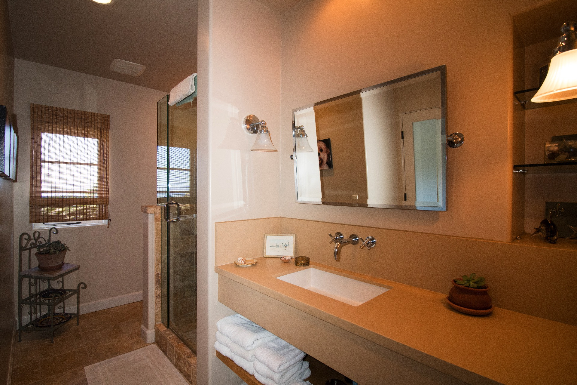 guest bathroom upstairs with a shower