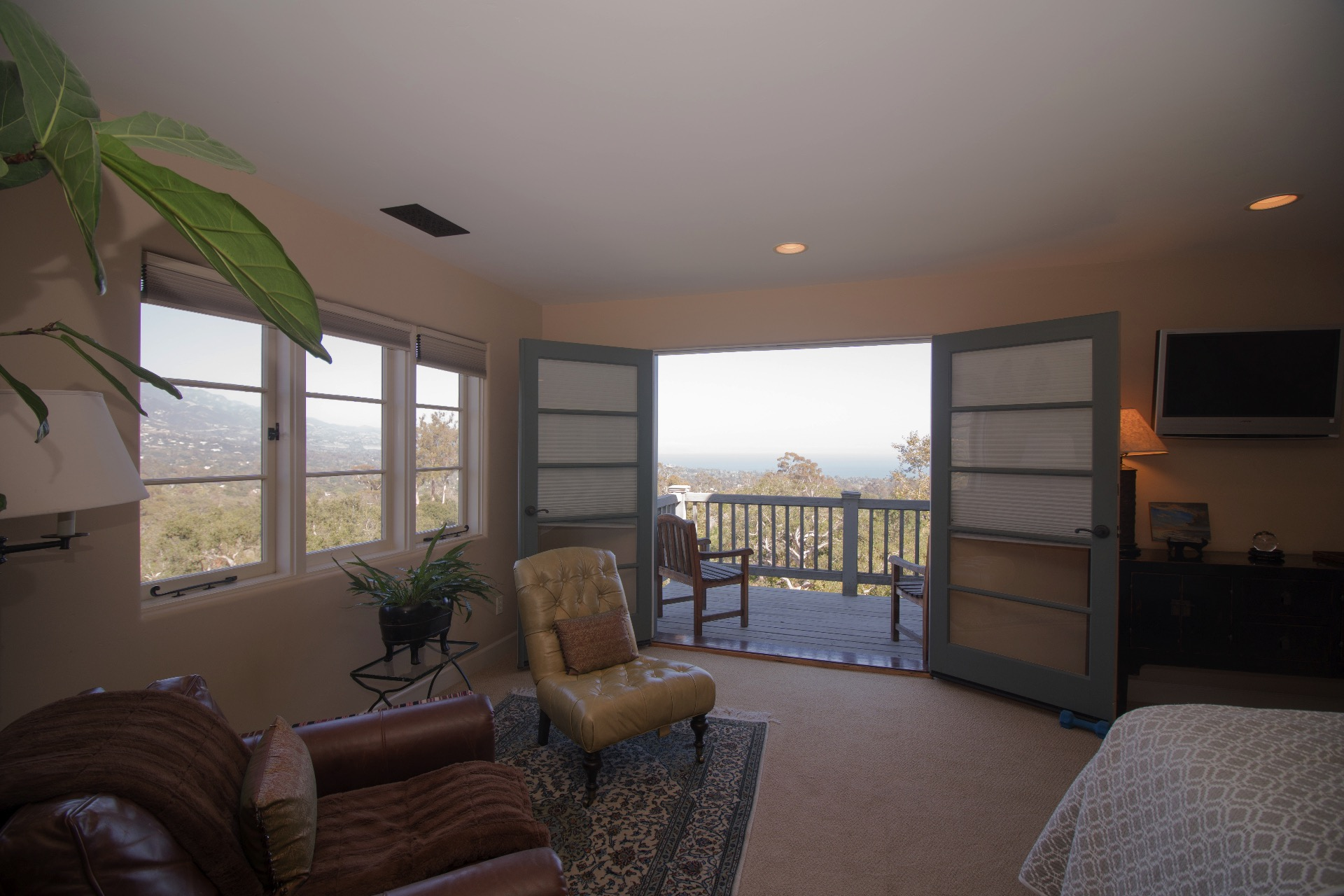 Mountain and ocean views from the master bedroom