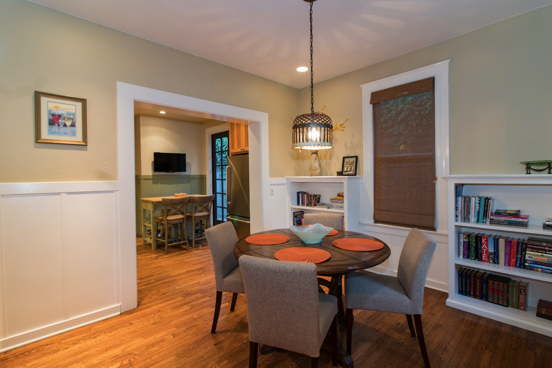 Dining area is right off the kitchen