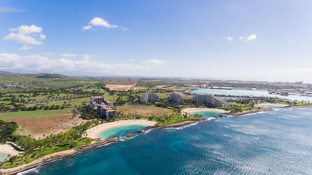 An aerial photo of this vacation rental in Ko Olina Oahu and the surrounding area.