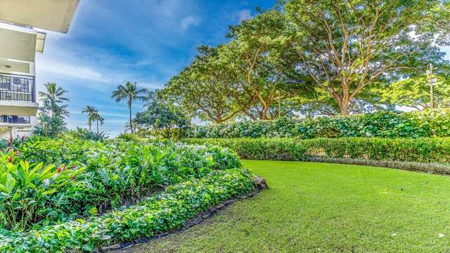 Garden off Lanai with meticulously manicured lawn and island landscaping.