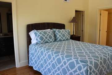 This bedroom is the perfect family retreat. It has a queen bed & full bath.